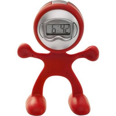 FLEXI MAN PLASTIC ALARM CLOCK in Red.