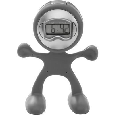 FLEXI MAN PLASTIC ALARM CLOCK in Light Grey.