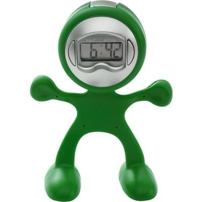 FLEXI MAN PLASTIC ALARM CLOCK in Light Green.