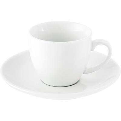 WHITE PORCELAIN CUP AND SAUCER.