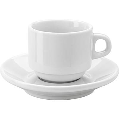 STACKABLE PORCELAIN CUP & SAUCER in White.