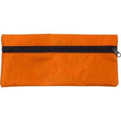 PENCIL CASE with Zip in Orange.