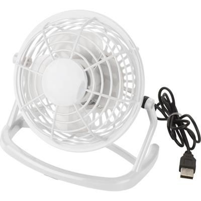 USB PLASTIC DESK FAN in White.