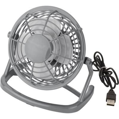 USB PLASTIC DESK FAN in Grey.