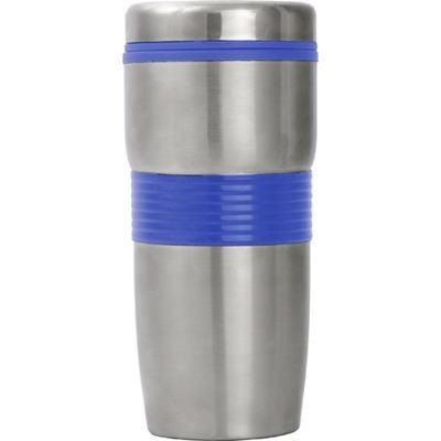 STAINLESS STEEL METAL TUMBLER TRAVEL MUG with Cobalt Blue Trim.