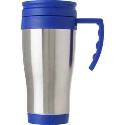 STAINLESS STEEL METAL TRAVEL MUG in Blue.
