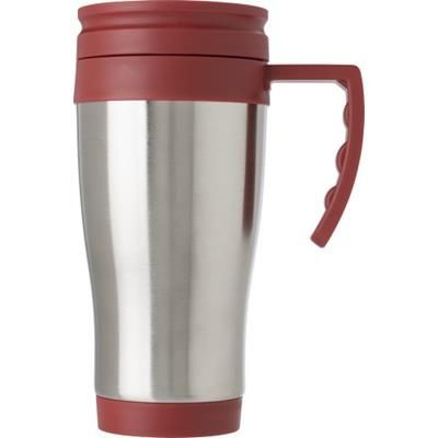 STAINLESS STEEL METAL TRAVEL MUG in Red.