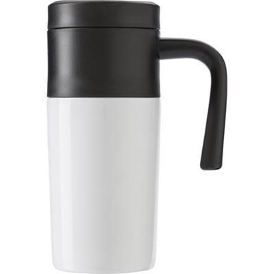 STAINLESS STEEL METAL TRAVEL MUG in White.