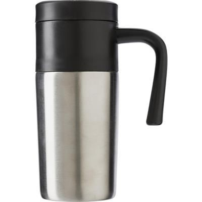 STAINLESS STEEL METAL TRAVEL MUG in Silver.