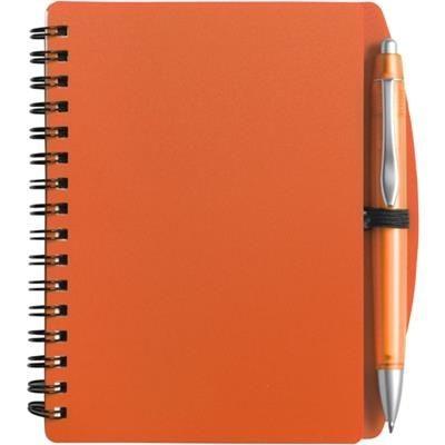 A6 SPIRAL WIRO BOUND NOTE BOOK & BALL PEN in Orange.