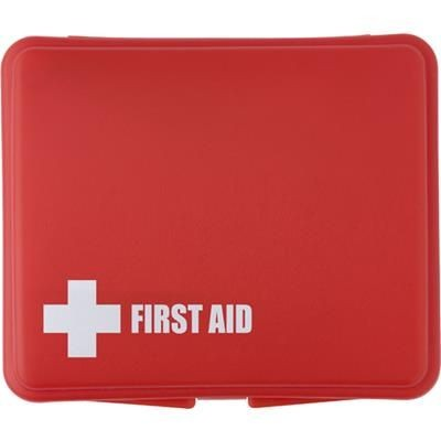 FIRST AID KIT in Plastic Box in Red.