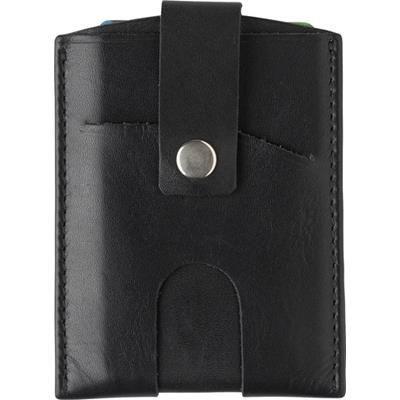 SPLIT LEATHER RFID CREDIT CARD WALLET.