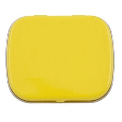 FLAT TIN with 25g of Mints in Yellow.