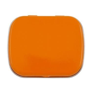 FLAT TIN with 25g of Mints in Orange.