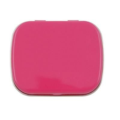 FLAT TIN with 25g of Mints in Pink.