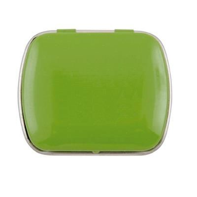 MINI HINGED TIN with Extra Strong Mints in Pale Green.