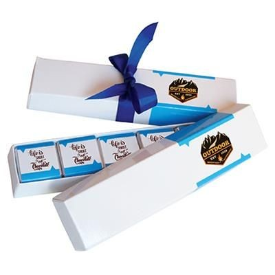 BOX CONTAINING 10 X 5G PERSONALISED BELGIAN CHOCOLATE with Colour Ribbon.