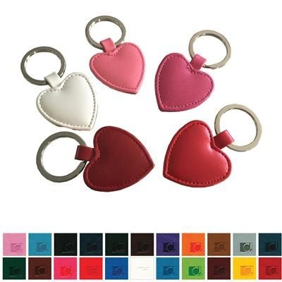 HEART SHAPE KEYRING FOB BELLUNO HEART SHAPE KEYRING FOB, FINISHED in Soft Touch Belluno PU with a Re