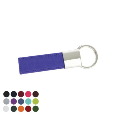 DELUXE RECTANGULAR KEYRING FOB with Twist Ring in Belluno PU Leather.