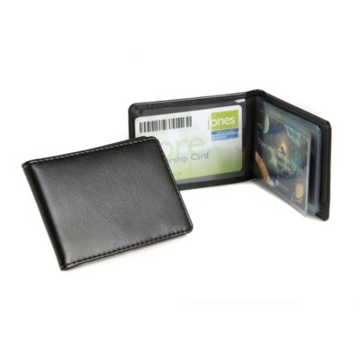 CREDIT CARD CASE with Booklet of Clear Transparent Pockets in Belluno PU.