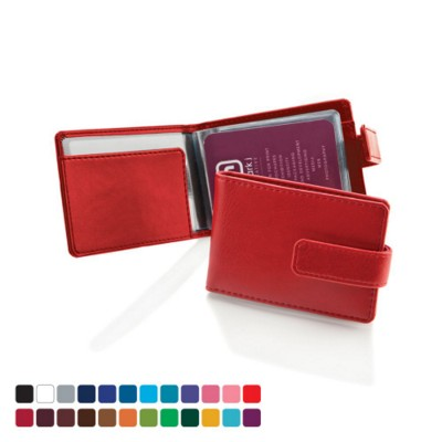 CREDIT CARD CASE WALLET with Strap Booklet of Clear Transparent Pockets.