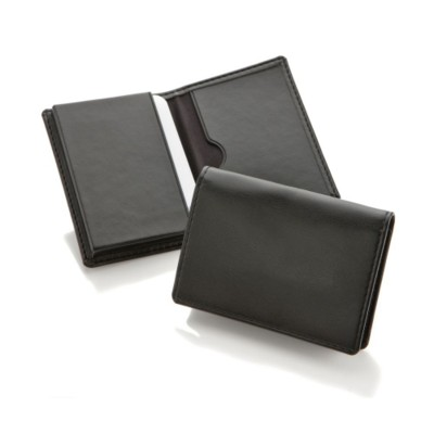 ECONOMY BUSINESS CARD DISPENSER in Black Belluno PU Leather.