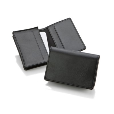 HAMPTON HIDE LEATHER POCKET BUSINESS CARD HOLDER in Black.