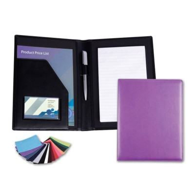 BELLUNO PU A5 CONFERENCE FOLDER in Pale Grey.