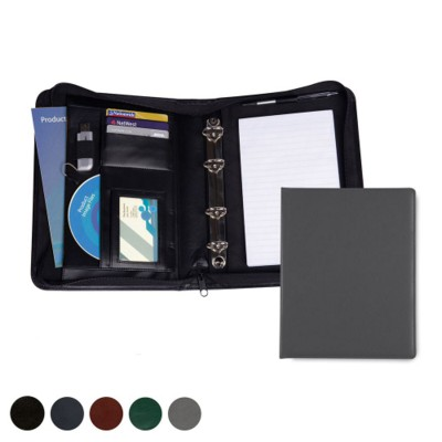 HAMPTON LEATHER A5 DELUXE ZIP RING BINDER.