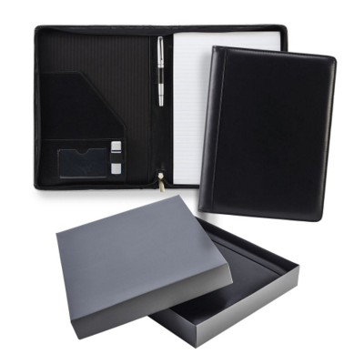 BLACK ASCOT LEATHER A4 ZIP CONFERENCE FOLDER.