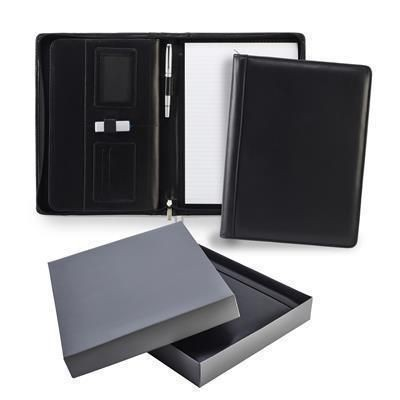 ASCOT HIDE LEATHER DELUXE ZIP CONFERENCE FOLDER in Black.
