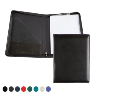 E LEATHER A4 ZIP CONFERENCE FOLDER in 8 Colours.