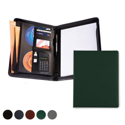 HAMPTON LEATHER A4 DELUXE ZIP FOLDER with Calculator.