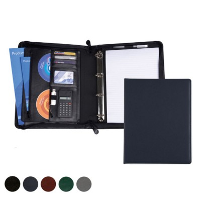 HAMPTON LEATHER A4 DELUXE ZIP CONFERENCE FOLDER.