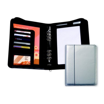 SILICA PU ZIP PERSONAL ORGANIZER COVER with Contrast Stripe on Front Cover.