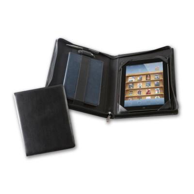 DELUXE ZIP IPAD CASE in Black Belluno PU Leather.