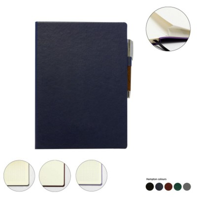 A4 LEATHER CASEBOUND POCKET NOTE BOOK.