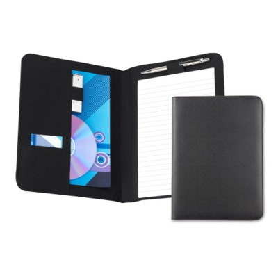 BEDFORD A5 CONFERENCE FOLDER in Black Leather Look PVC.
