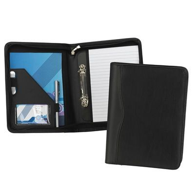 HOUGHTON A5 ZIP RING BINDER in Black Leather Look PU.
