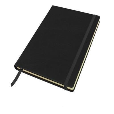SANDRINGHAM NAPPA LEATHER A5 CASEBOUND NOTE BOOK with Elastic Strap & Envelope Pocket.