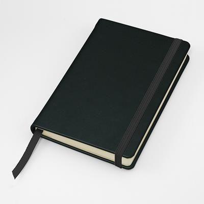 SANDRINGHAM NAPPA LEATHER POCKET CASEBOUND NOTE BOOK with Strap & Envelope Pocket.