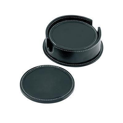 SANDRINGHAM ROUND COASTER SET in Soft Black Nappa Leather.