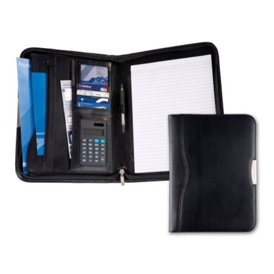 BALMORAL BONDED LEATHER DELUXE ZIP AROUND CONFERENCE FOLDER in Black Leather.