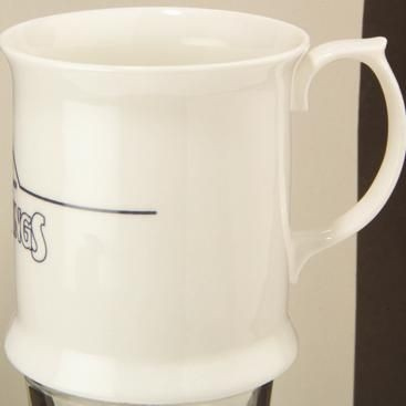 MINI BONE CHINA TANKARD MUG in White.