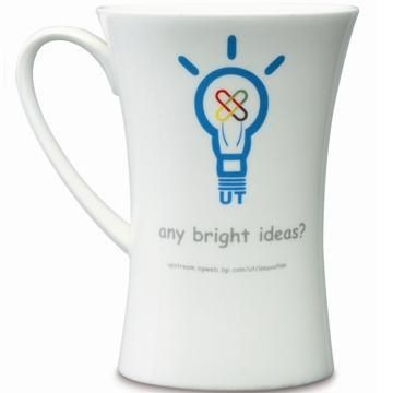 HOURGLASS BONE CHINA MUG in White.