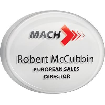 DOMED ACRYLIC PERSONALISED NAME BADGE in White.