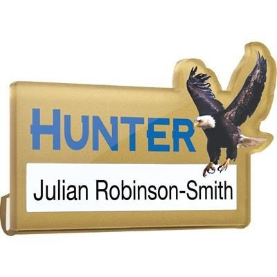 CLEAR TRANSPARENT ACRYLIC WINDOW NAME BADGE.