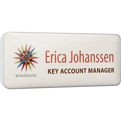 PLASTIC FACED PERSONALISED NAME BADGE in White.