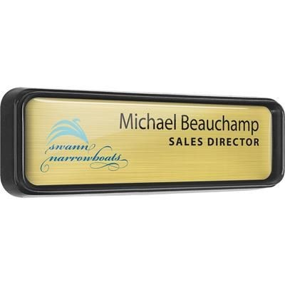100% RECYCLED BLACK PLASTIC FRAMED PERSONALISED NAME BADGE.