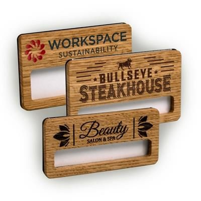 REUSABLE WOOD FACED WINDOW BADGE ENGRAVED.